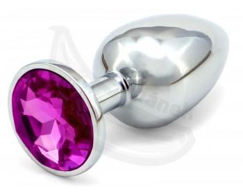 Fotka 1 - Anální kolík s tmavě fialovým šperkem průměr 3cm