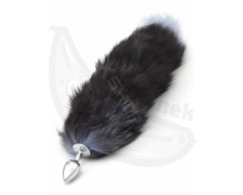 Fotka 1 - Kovový anální kolík s liščím ocáskem černý