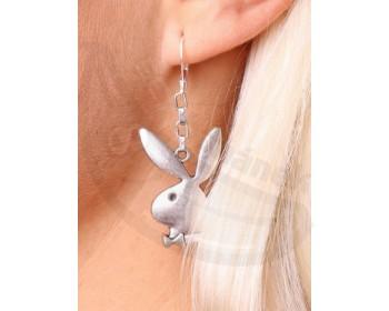 Fotka 1 - Náušnice s králíčkem Playboy na krátkém řetízku