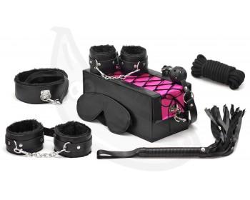 Fotka 1 - BDSM sada v kufříku 7 pomůcek pro erotické hrátky černo-růžová