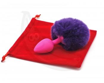 Fotka 1 - Silikonový anální kolík s chundelatým králičím ocáskem růžová