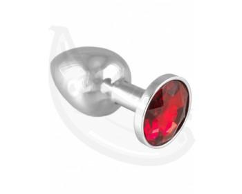 Fotka 1 - Anální kolík s červeným šperkem z nerezové oceli