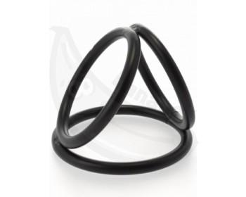 Fotka 1 - Trojitý erekční kroužek na penis a varlata černý
