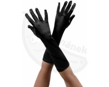 Fotka 1 - Černé saténové rukavice z lehce lesklého materiálu černá