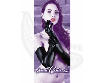 Fotka 1 - Dlouhé lesklé rukavice wetlook vzhled černé