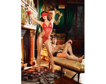 Fotka 1 - Erotické síťované body s pouty a maskou na oči červené