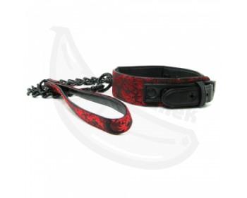 Fotka 1 - BDSM obojek s vodítkem černočervený
