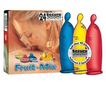 Fotka 1 - Barevné kondomy Secura s příchutí ovoce