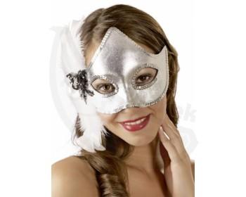 Fotka 1 - Stříbrná oční maska s bílým peřím stříbrná