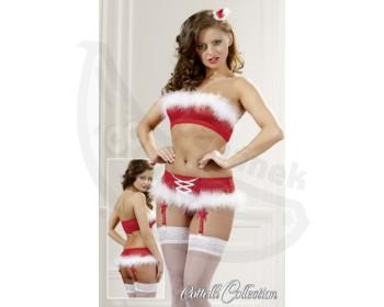 Fotka 1 - Set vánočního prádla Cottelli podprsenka a kalhotky červenobílý