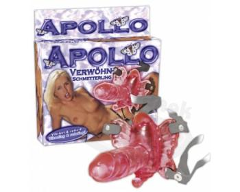 Fotka 1 - Vibrační motýlek s penisem Apollo růžový