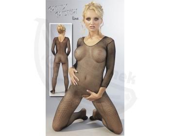 Fotka 1 - Síťovaný catsuit erotický obleček černý