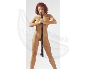 Fotka 1 - Latex Whip Dong Latexový bič s penisem leskle černý