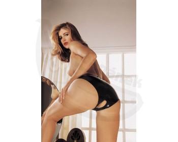 Fotka 1 - Dámské latexové kalhotky s otvorem Sharon Sloane lesklá černá