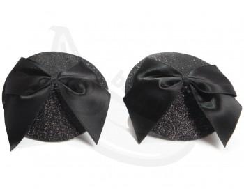 Fotka 1 - Černé lepítka na bradavky Burlesque Bow