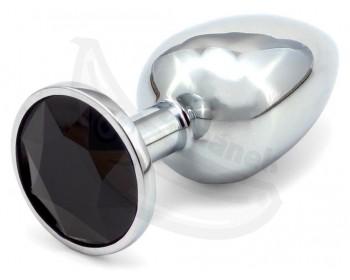 Fotka 1 - Anální kovový kolík se černým krystalem malý černá