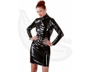 Fotka 1 - Lesklé lakované erotické šaty Black Level černá