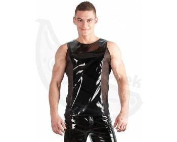 Fotka 1 - Sexy lakované pánské tričko bez rukávů černá