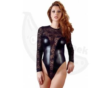 Fotka 1 - Sexy černé krajkové body z lesklého materiálu černá