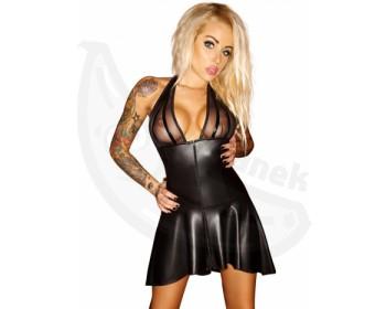 Fotka 1 - Lesklé erotické šaty se skládanou sukní černá