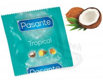 Fotka 1 - Kondom Pasante Tropical Coconut s příchutí kokosu (1 ks)