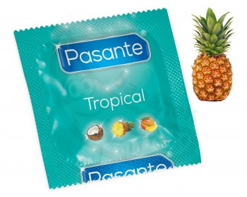 Fotka 1 - Kondom Pasante Tropical Pineapple s příchutí ananasu (1 ks)
