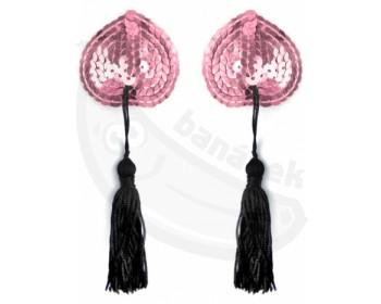 Fotka 1 - Samolepicí srdíčka na bradavky se střapci - růžová 1 pár