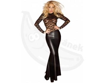 Fotka 1 - Dlouhé lesklé erotické šaty s průsvitným krajkovým topem černá