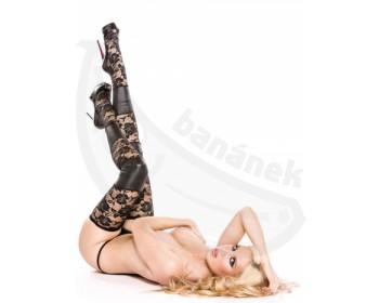 Fotka 1 - Luxusní krajkové punčochy s wetlook vsadkami