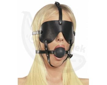 Fotka 1 - Kožená maska s roubíkem černá