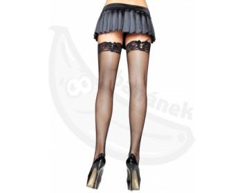 Fotka 1 - Erotické černé síťované punčochy zdobené krajkovým lemem