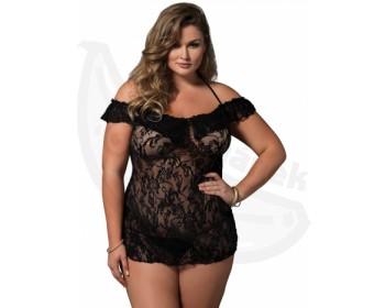 Fotka 1 - Erotická krajková košilka XL/XXL s odhalenými rameny černá
