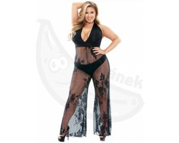 Fotka 1 - Erotický catsuit se širokými nohavicemi pro plnější tvary