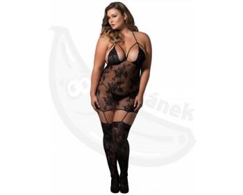 Fotka 1 - Krajkové erotická košilka XL/XXL s podvazky a punčochami černá
