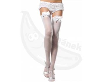 Fotka 1 - Bílé erotické punčochy s krajkovým lemem