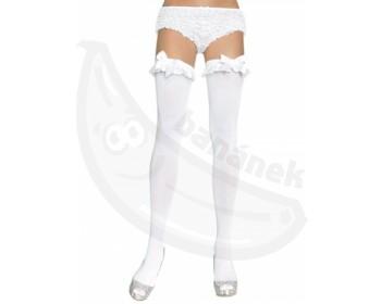 Fotka 1 - Bílé neprůhledné sexy punčochy Leg Avenue