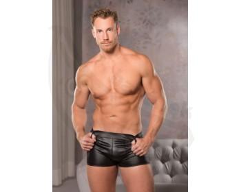 Fotka 1 - Pánské lesklé černé boxerky s krátkými nohavičkami