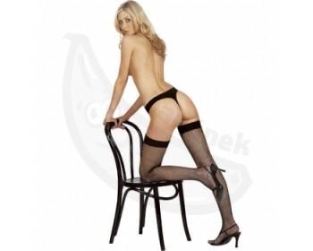 Fotka 1 - Síťované punčochy na podvazky sexy černé
