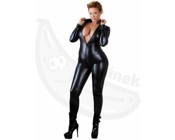 Fotka 1 - Erotický wetlook overal pro plnější tvary černá