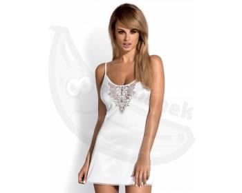 Fotka 1 - Sexy saténová bílá košilka Lelia včetně tang