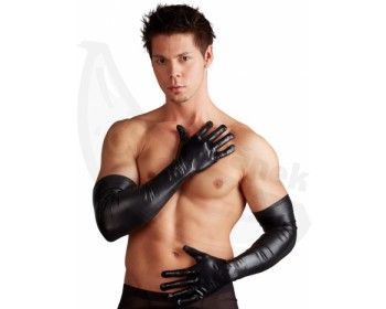 Fotka 1 - Dlouhé lesklé pánské rukavice elastické
