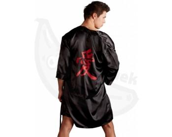 Fotka 1 - Luxusní pánské saténové kimono v černé barvě