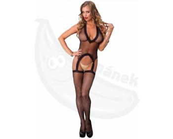 Fotka 1 - Síťovaný erotický catsuit s hlubokým výstřihem a punčochy