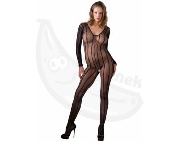 Fotka 1 - Pruhovaný průhledný erotický catsuit s otvorem v rozkroku