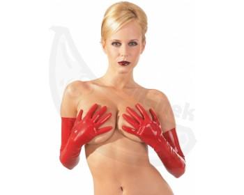 Fotka 1 - Dlouhé červené latexové rukavice lehce průsvitné