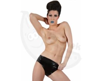 Fotka 1 - Černé spodní latexové kalhotky s vnitřním vaginálním dildem