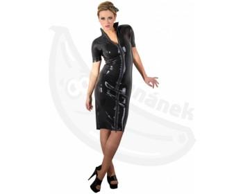 Fotka 1 - Černé latexové šaty s krátkými rukávy