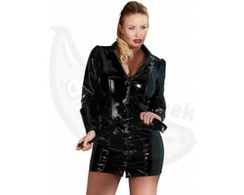 Fotka 1 - Černý lakovaný kabát s páskem pro plnoštíhlé