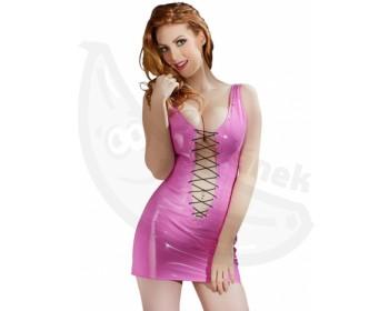 Fotka 1 - Růžové erotické minišaty z lesklého vinylu