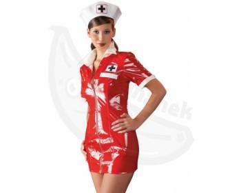 Fotka 1 - Červený lakovaný kostým sexy sestřička